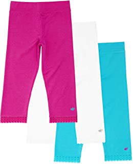 Lucky & Me | Jada Girls Capri Leggings | Tagless | Capri Length, Lace Trim, Wide Waistband in White, Pink and Blue | 3-Pack