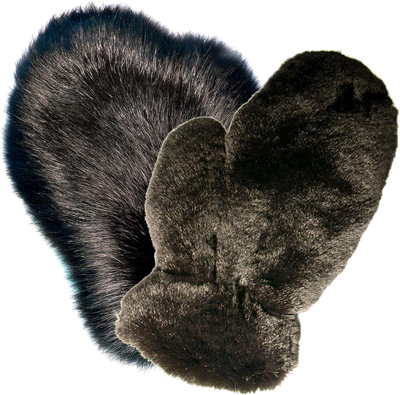MinkgLove Combination Furs Massage Glove, Alternating Sensations, Hand Tailored