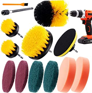 Hongfa 12pcs Scrubber Drill Brush Kits, Scrub Pads, Sponge,Extend Long Attachment,Power Scrubber Cleaning Brushes for Tile...