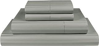 Threadmill Home Linen King-Size Sheets - 100% Natural Cotton 600 Thread Count, 4 Piece Damask Moonrock Grey Sheet Set, Bre...
