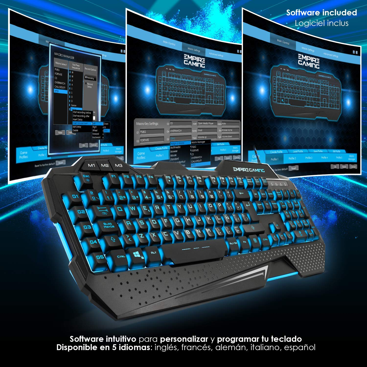 EMPIRE GAMING - Pack Hellhounds Teclado Ratón y Alfombrilla Gamer ...