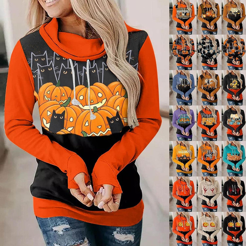 Fudule Halloween Shirts for Women Funny Pumpkin Black Cat Skull Printed Sweatshirts Casual Long Sleeve Hoodies Fall Tops