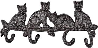 INIRET Decorative Cast Iron Wall Hook Rack,Vintage Design Hanger,4 Cats Cast Iron Wall Hanger,Coat Hook Antique Decorative...