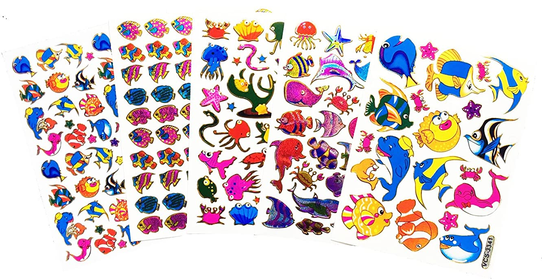 Fancy! Mix! Fish, Sea Horse, Star Fish, Under The Sea No.2 Sparkle Sticker-5 Sheet