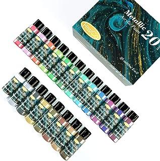 Metallic Acrylic Paint Set of Premium 20 Colors,Professional Grade Metallic Paints with Bottles (2fl oz 60ml), Rich Pigmen...
