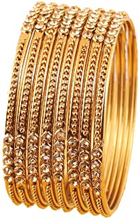 أساور من Touchstone بتصميم بوليوود هندي جميل عمل وواضح حجر الراين مصمم مجوهرات سوار مجموعة من 8 قطع للنساء بلون ذهبي عتيق.