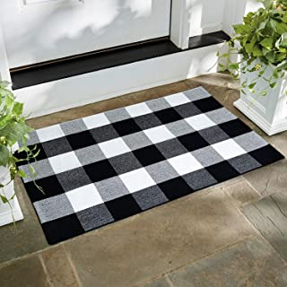 Winwinplus Buffalo Check Rug Cotton Front Porch Decor Checkered Plaid Black and White Rug for Living Room/Kitchen/Porch Door Mat 2' x 3'