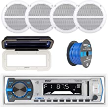 """Pyle PLMR21BT Marine Boat USB/SD/MP3 Bluetooth Stereo Receiver With Waterproof Cover Bundle Combo With 4x Enrock 6.5"""" Inch Dual-Cone White Upgarde Audio Coaxial Speakers + Enrock 50Ft 16g Speaker Wire"""