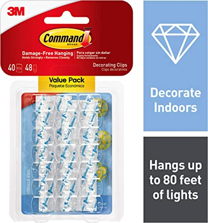 Command Decorating Clips, Decorate Damage Free, Hangs up to 80 feet of lights, Value Pack