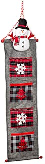 Seasons Designs Snowman and Embroidered Snowflake Red Plaid on Grey 40 x 12 Felt Four Pocket Christmas Wall Hanger