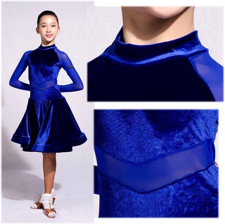 SCGGINTTANZ GD3102 Kid Latin Ballroom Dance Professional net Yarn and Velvet Splicing Design Race//Performance Dress for Girl