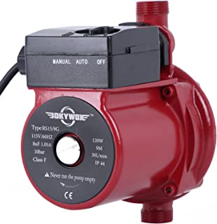 BOKYWOX 120W 110V Food Grade Automatic Booster Pump NPT3/4'' Domestic Hot Water Circulator Pump 120W Home Recirculating Pump Hot Water Circulator Circulation Pump (RS15/9R)