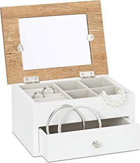 Relaxdays Wooden Jewelry Box w/Picture Frame, 9.5 x 18.5 x 31.5 cm Small Jewellery Chest w/Ring Holder as Wood Storage Box for Necklaces & Earrings w/Drawer, White