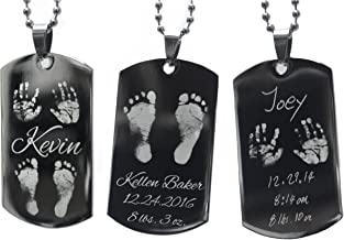 Baby Footprints, Hand Prints, Handwriting Custom Engraving Stainless Steel Dog Tag Necklace