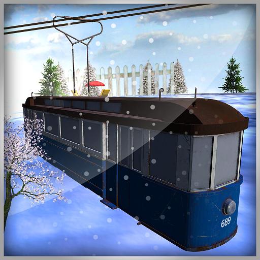 simulateur de tramway: jeu de transport de télésiège sur une station de ski de montagne