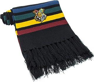 Cinereplicas - Harry Potter - Bufanda - Ultra Suave - Licencia Oficial - Hogwarts - 190 cm - Negro con Rayas Rojas, Amaril...