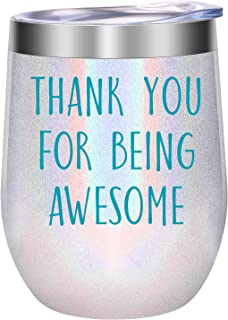 Thank You for Being Awesome - Thank You Gifts for Women - Coworker, Boss, Employee Appreciation Gifts - Funny Friendship, Birthday, Christmas Wine Gifts Ideas for Best Friend - LEADO Wine Tumbler Cup