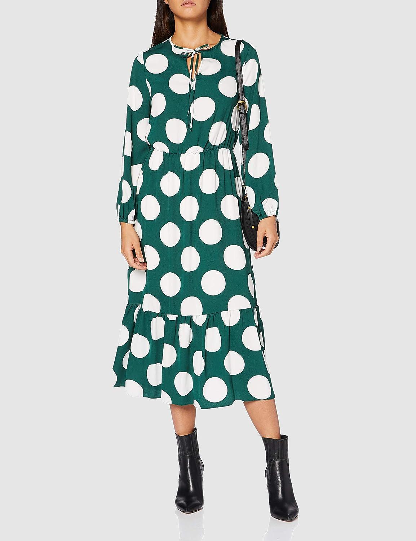 Dorothy Perkins Womens Green Spot Smock Midi Dress Casual
