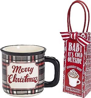 Christmas Mug with Hot Chocolate Cocoa Set, 20 oz. Merry Christmas in Buffalo Plaid (Grey and Black Plaid Merry Christmas)