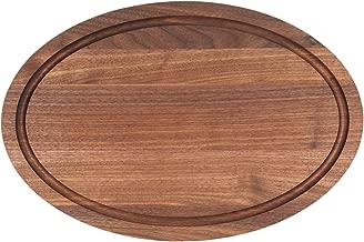 BigWood Boards W410-NI Oval Cutting Board, 12-Inch by 18-Inch by 1-Inch, Monogrammed BLANK, Walnut
