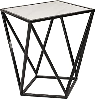 Kate and Laurel Maia Metal Side Accent Table with Marble Top, Black
