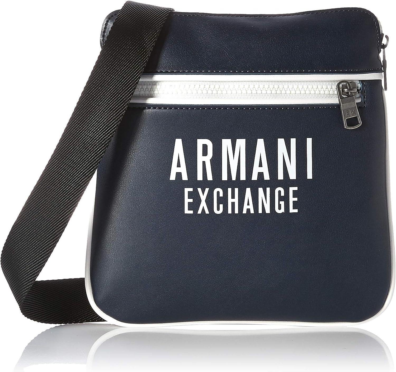 A X Armani Exchange - Bolso cruzado plano de piel ecológica para hombre