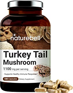Turkey Tail Capsules (Made with Organic Turkey Tail Mushroom), 1100mg Per Serving, 180 Counts, Powerfully Supports Positiv...