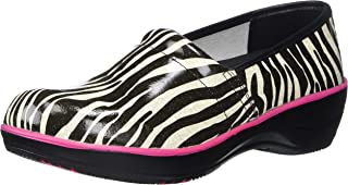 Smitten Women's Clog Shoe Animal Print Patent Leather with Shock-Absorbing Memory Foam Footbed Medical Scrubs Accessory