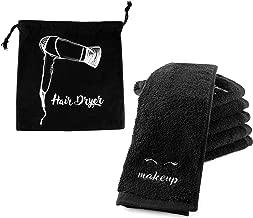 Black Makeup Washcloths (6-Pack); Make-up Remover Face Towels + Bonus Hairdryer Bag (7-Piece Set)