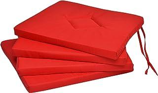 Beautissu Set de 4 Cojines para sillas Kim - Juego de Cojines cómodos y Decorativos - para el Interior como Exterior - 40x40x3 cm Rojo - Cojines sillas Cocina
