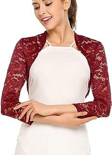 Blusa Tipo Bolero con Encaje Floral y Manga Larga para Mujer