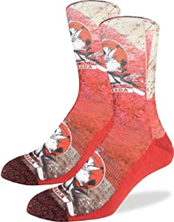 Good Luck Sock Men's Majestic Canadian Beaver Crew Socks - Red, Adult Shoe Size 8-13