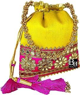 Bombay Haat Ethnische indische Designer-Seiden-Potli-Tasche, Abendtasche, Clutch, Geldbörse für Hochzeit, Party, Cocktail,...