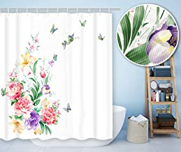 BECAN Peony Flower Shower Curtain Rhombus Weave Fabric Butterflies Fragrant Flower Floral Design Waffle Jacquard Fabric Bathroom Shower Curtain with 12pcs Hooks 72X72 Inch