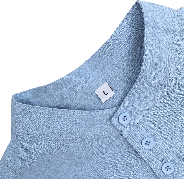 JEKAOYI Mens Cotton Linen Henley Shirts 3/4 Sleeve Beach Yoga Summer Solid T Shirt Tops