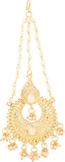 NEW! Touchstone Indian Bollywood Beautifully Hand Beaten Chaandbaali Moon Inspired Traditional Magical Look Faux Pearls He...