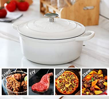 EDGING CASTING Enameled Cast Iron Covered 5.5 Quart Dutch Oven with Dual Handle, White