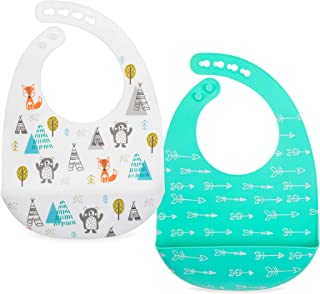 Nuby 2 Pack Adjustable Easy Clean Soft Silicone Bibs with Scoop, Arrows & Bears/Foxes