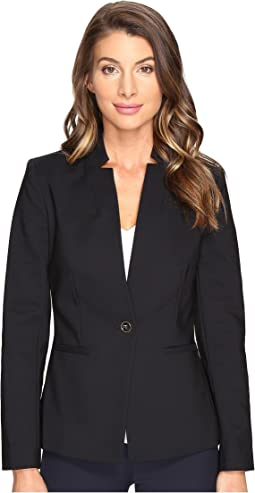 One-Button Notch Collar Blazer