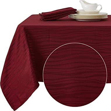Deconovo Decorative Jacquard Rectangle Tablecloth Vibrant Waves Wrinkle Resistant and Waterproof Tablecloths for Dining Room 60 x 84 inch Burgundy