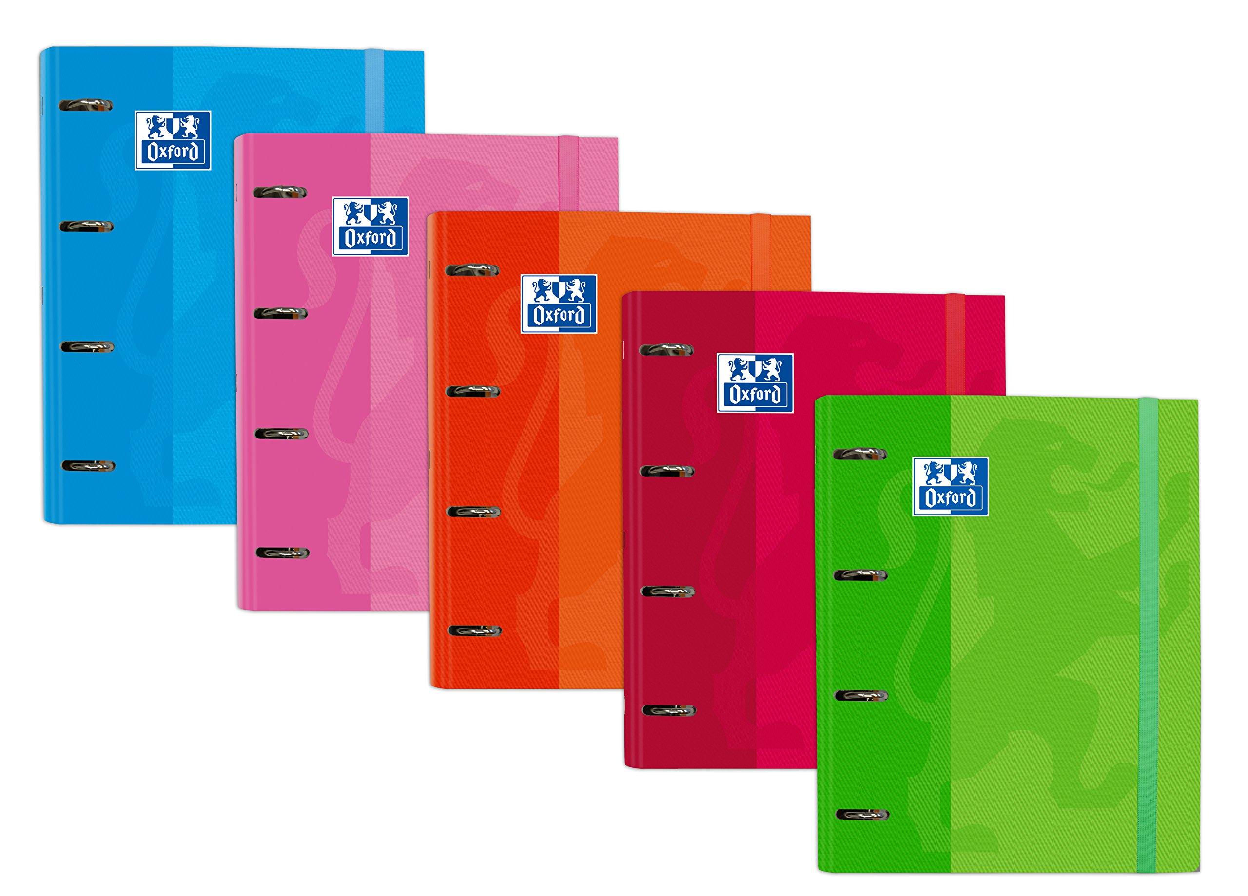 Archivador 4 anillas con recambio y goma Oxford, Caja de 10 unidades, Tapa Extradura A4+ con Recambio 100 Hojas, Cuadrícula 5x5, Colores surtidos: Amazon.es: Oficina y papelería