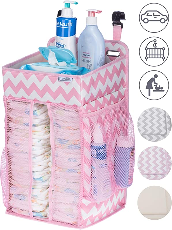 DIAPER CADDY ORGANIZER Nursery Organizer Best Hanging Diaper Caddy For Baby Crib Playard Changing Table Car Wall Large Storage Pink Grey Chevron Beige Perfect Baby Shower Gift For Boy Or Girl