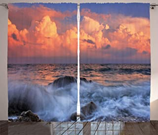 Ambesonne Ocean Decor Collection, Storm is Approaching with Dense Clouds at Horizon and a Wavy Sea at a Rocky Bay at Sunri...