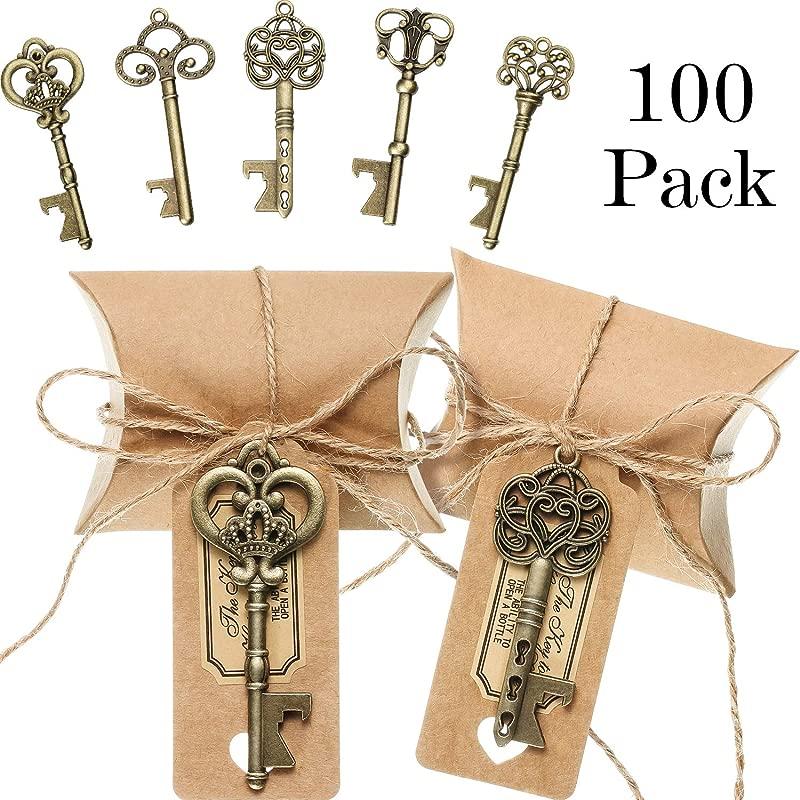 100 Sets Vintage Key Bottle Openers Wedding Favor Souvenir Gift Set Pillow Shape Candy Gift Box Escort Thanks Tag Sticker Hemp Rope Antique Bronze