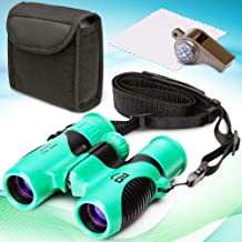 RO Kid Spy Binoculars for Kids -Compact Waterproof and Shockproof Toy Set with Whistle and Compass for Girls and Boys