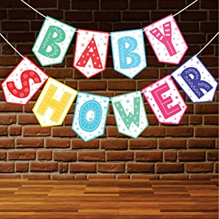 Wobbox Baby Shower Bunting Banner Multicolor, Party Decoration Set of One, Pre-Strung Decor