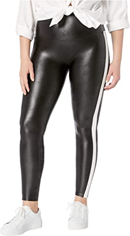 Plus Size Faux Leather Side Stripe Leggings