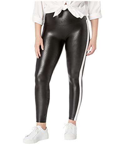 Spanx Plus Size Faux Leather Side Stripe Leggings (Very Black/White) Women