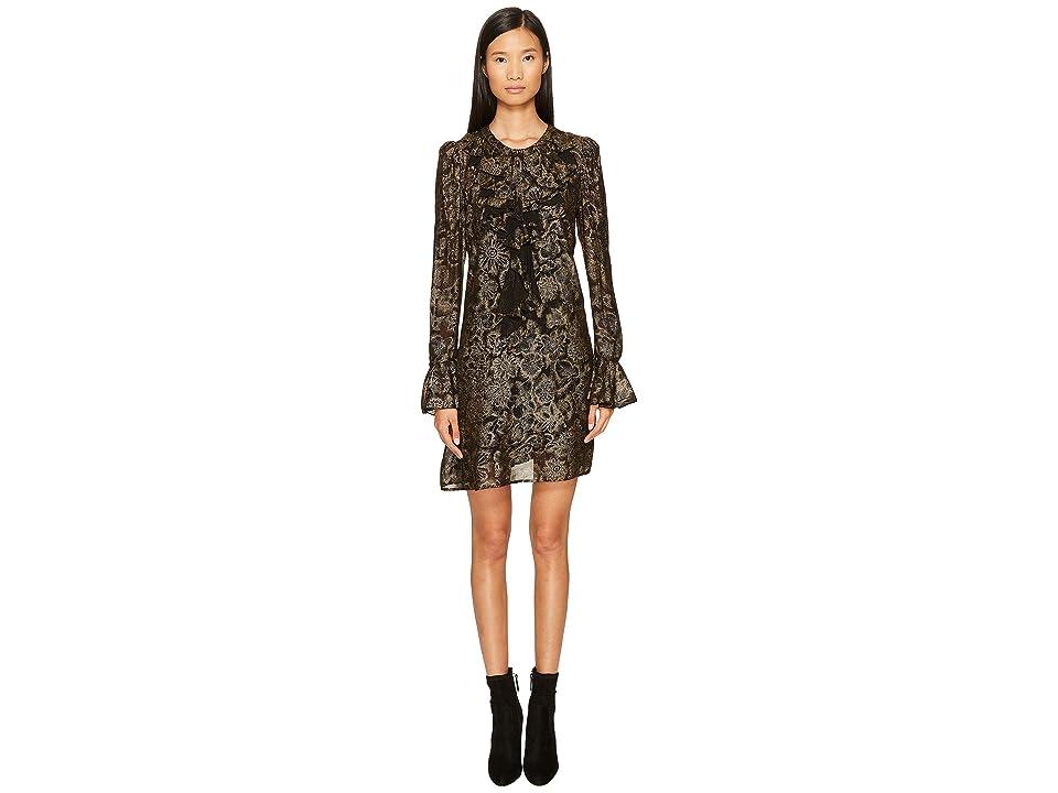 Just Cavalli Long Sleeve Metallic Print Dress (Black/Gold) Women