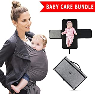 Halcyon Products - 2 Different Products in 1 Baby Care Bundle - 1 Baby Sling Holder/Wrap Carrier and 1 Portable Travel Baby Changing Mat/Changing Pad - A Must for All Parents with Newborn/Infants